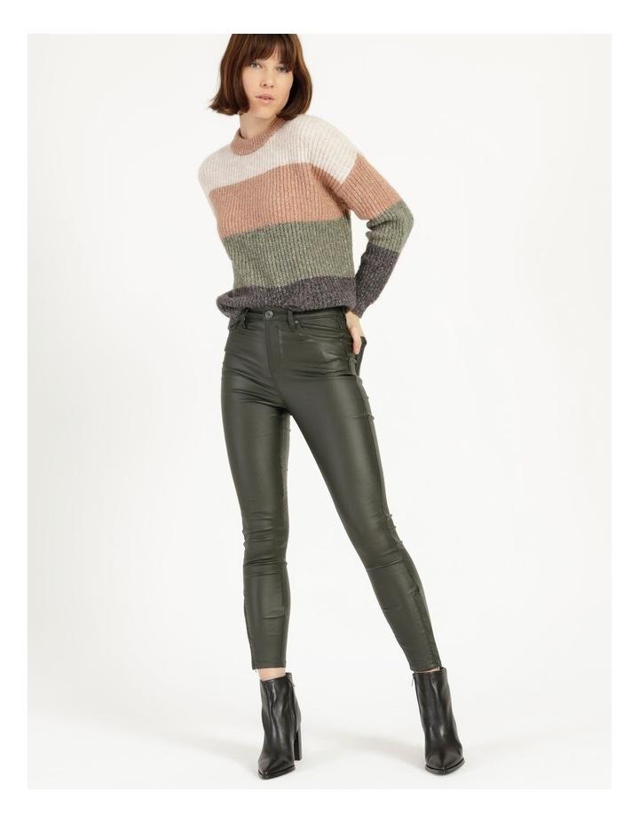 Coated Dark Green High Rise Skinny Jean image 1