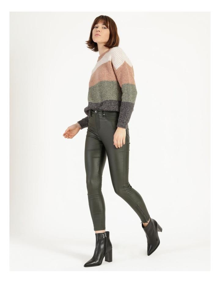 Coated Dark Green High Rise Skinny Jean image 3