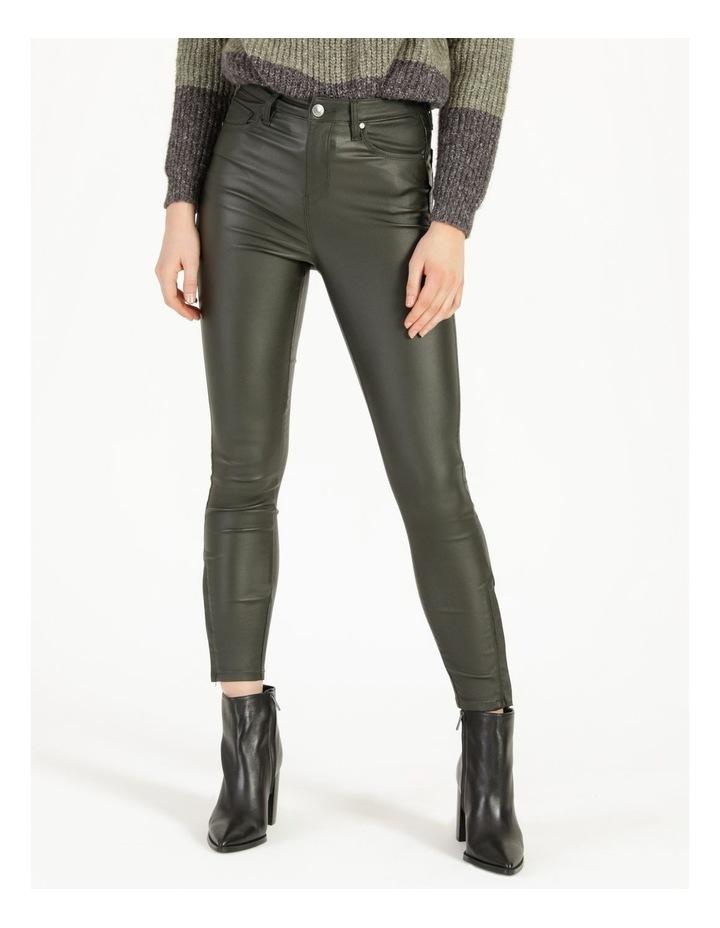 Coated Dark Green High Rise Skinny Jean image 6