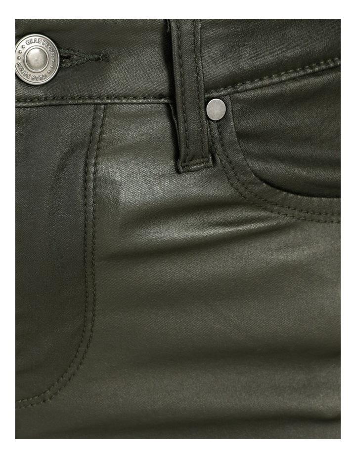 Coated Dark Green High Rise Skinny Jean image 7