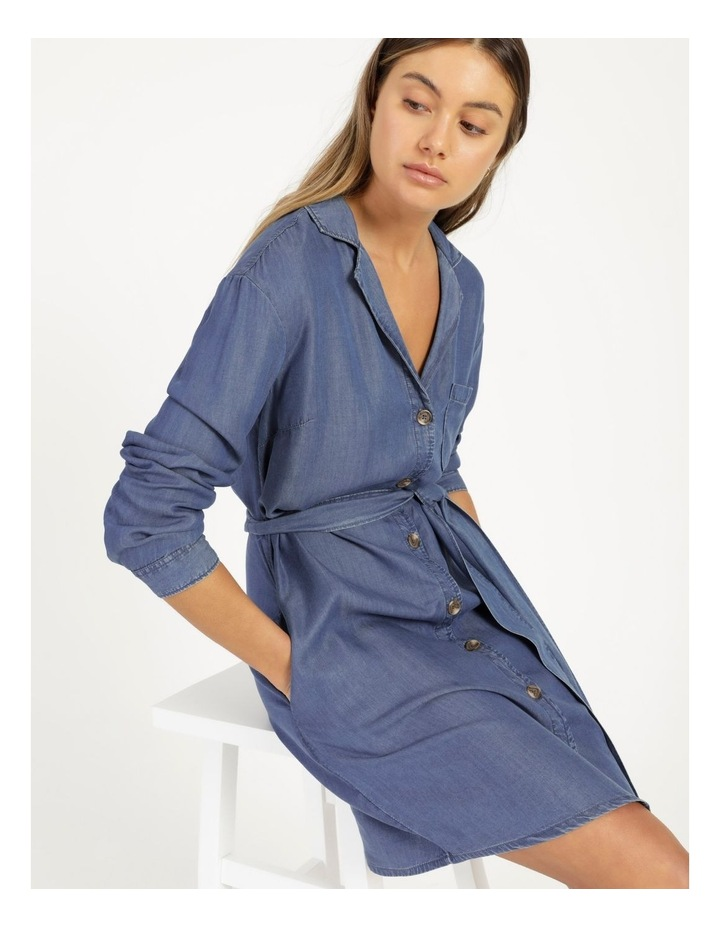 Long Sleeve Button Through Lyocell Dress image 1