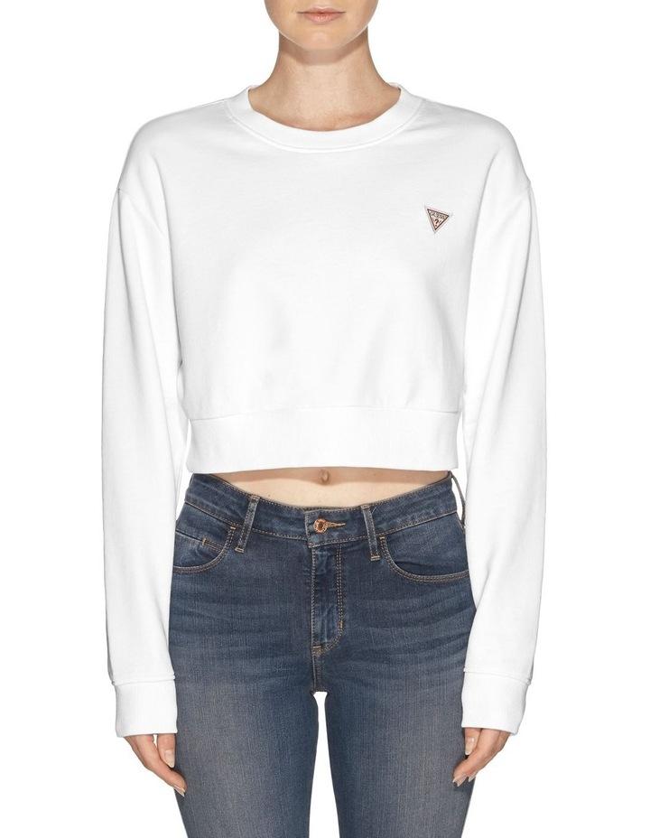 Long Sleeve Crew Neck Crop Sweatshirt image 1