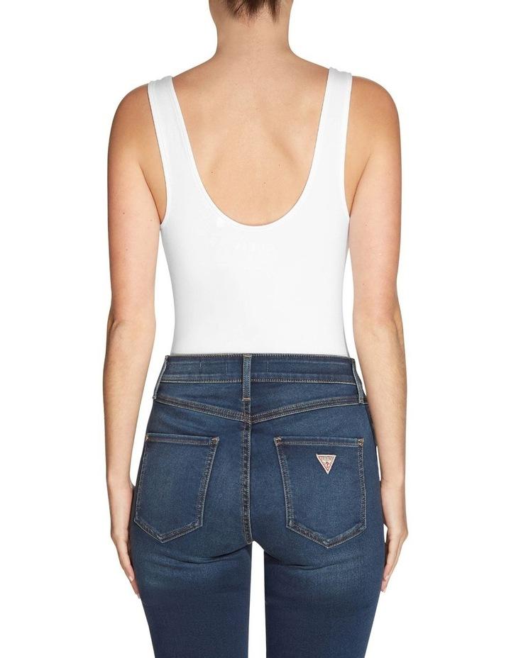Es Sleeveless Double Scoop Classic Bodysuit White image 2