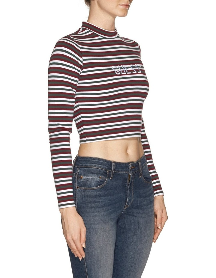 Long Sleeve Mock Neck Stripe image 2
