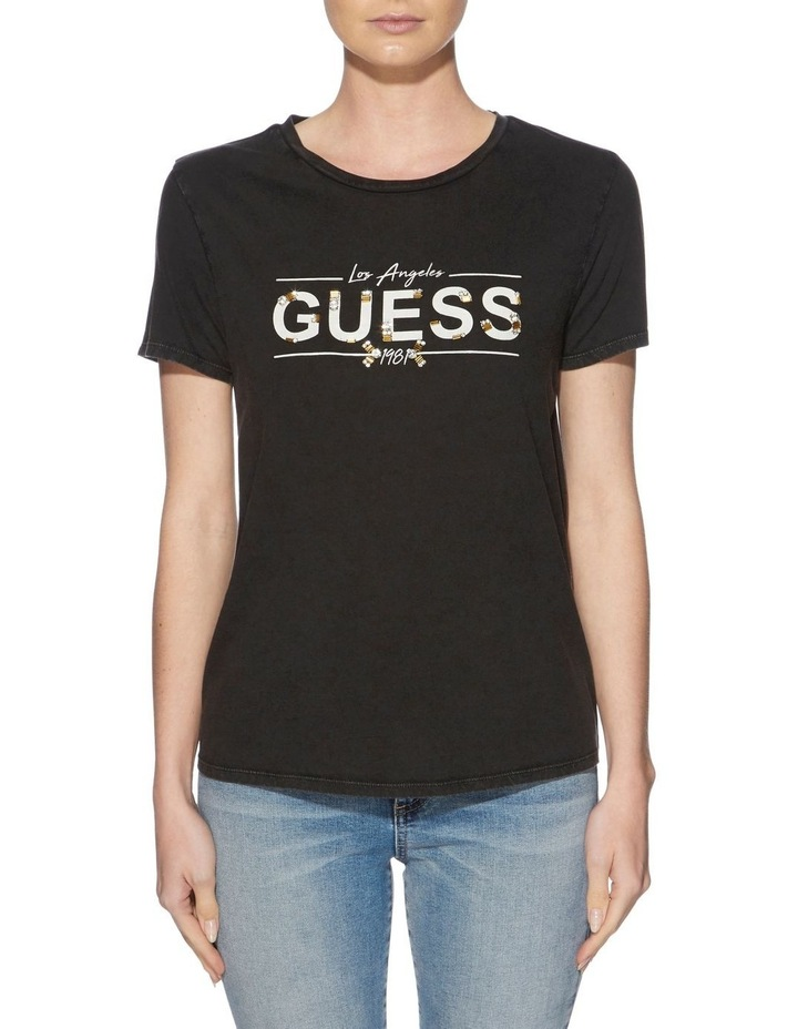 Short Sleeve Beaded Guess Logo Tee image 1