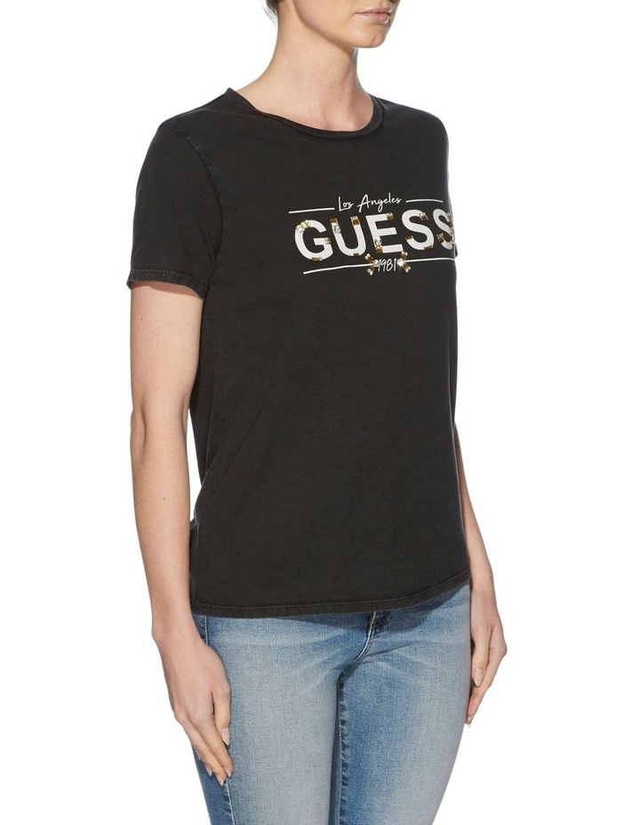 Short Sleeve Beaded Guess Logo Tee image 3