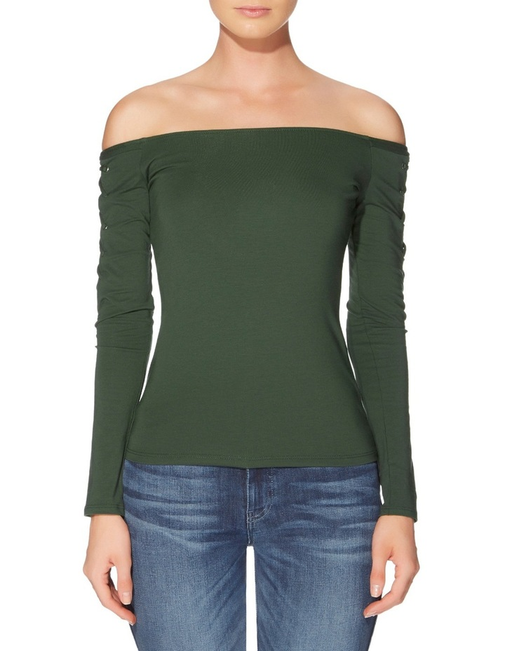 Long Sleeve Catrina Off Shoulder Lace-Up Top image 1
