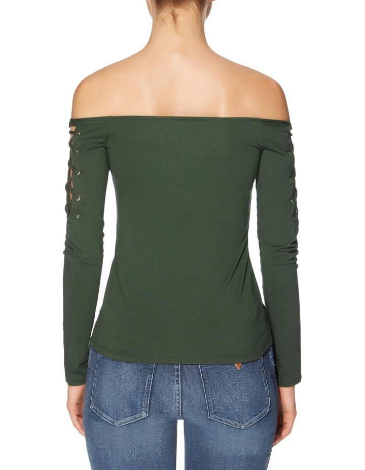 Long Sleeve Catrina Off Shoulder Lace-Up Top image 2