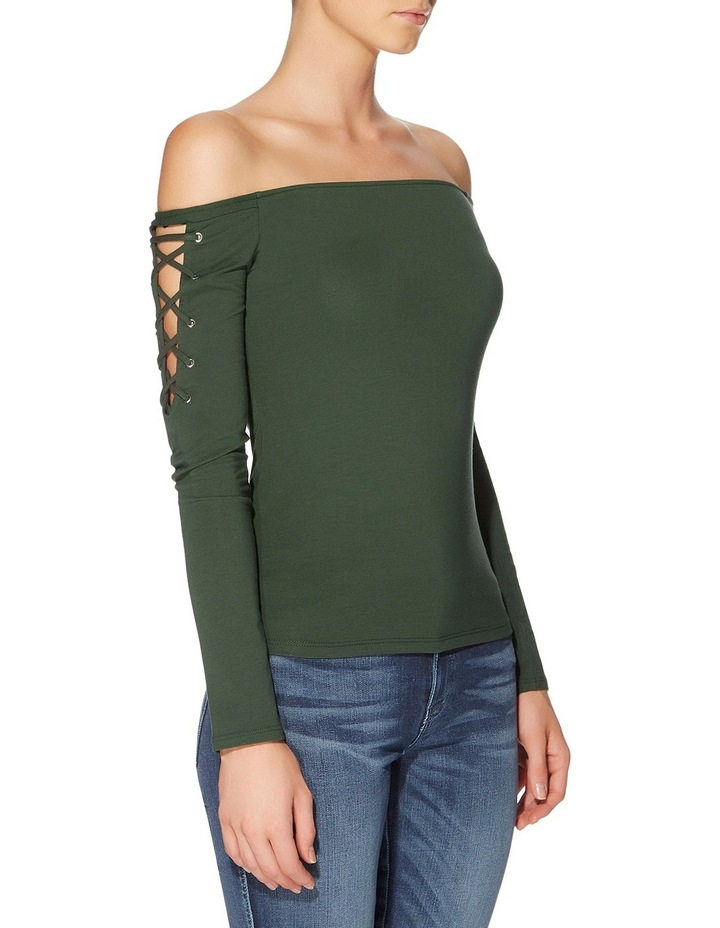 Long Sleeve Catrina Off Shoulder Lace-Up Top image 3