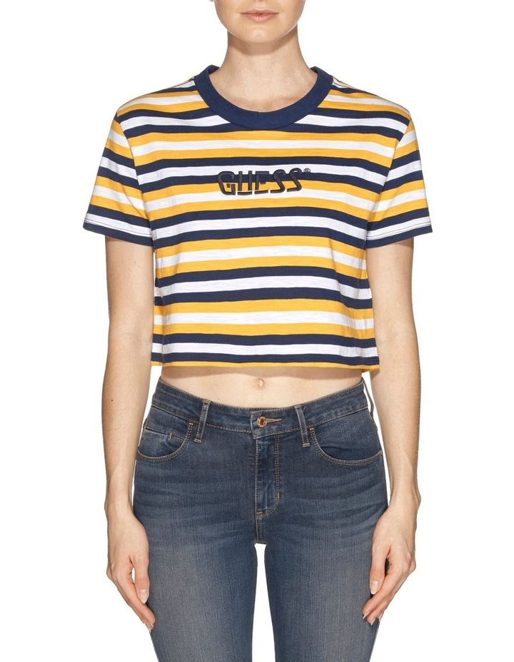 Short Sleeve Crop Stripe Tee image 1