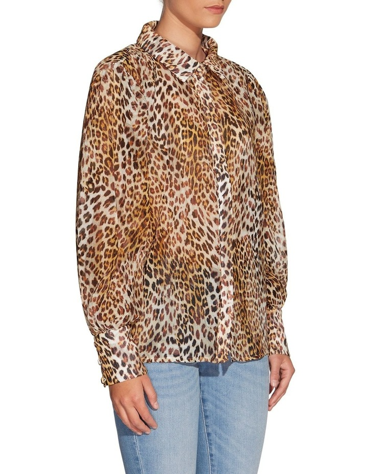 Long Sleeve Yora Button Up Top Ghost Leaf Leopard image 3