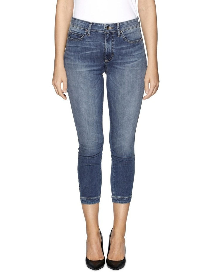 High Rise Tie Cropped Skinny Jeans image 1