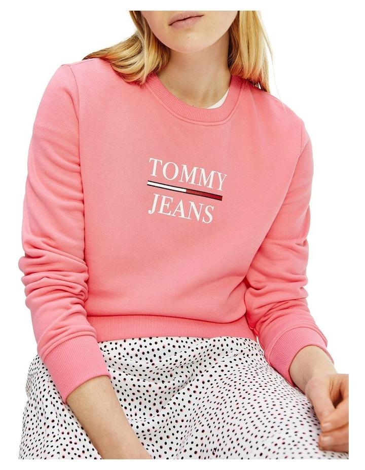 Slim Terry Logo Botanical Pink Sweatshirt image 1