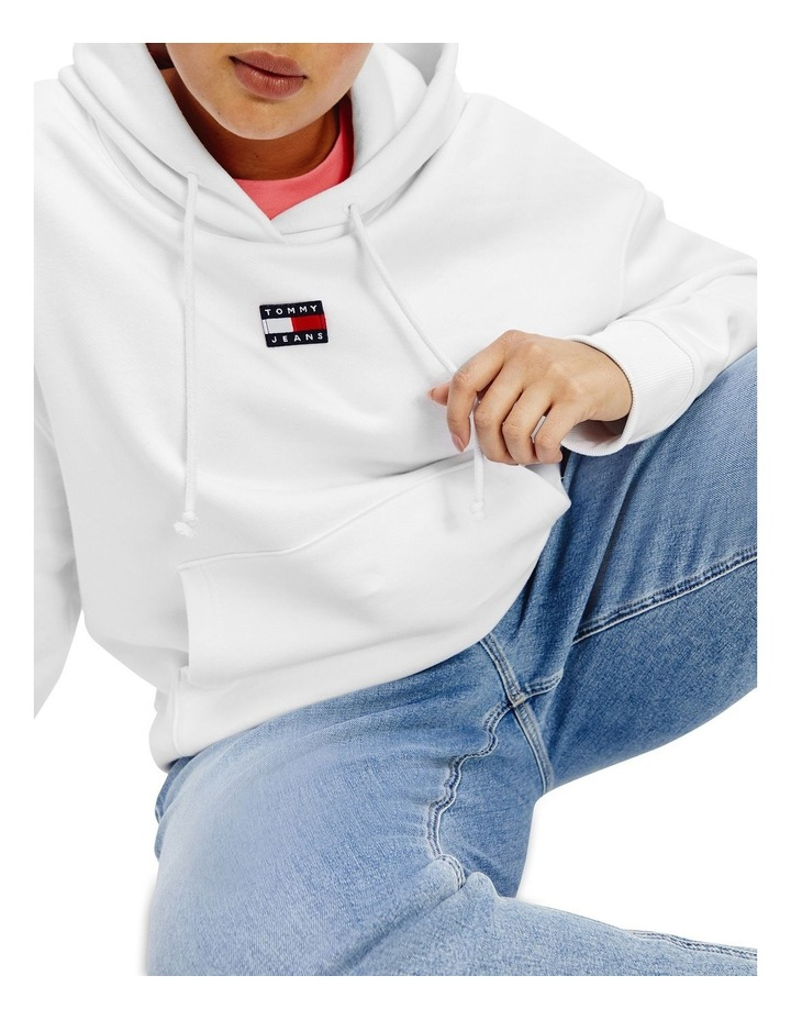 Curve Center Badge Hoodie White image 1