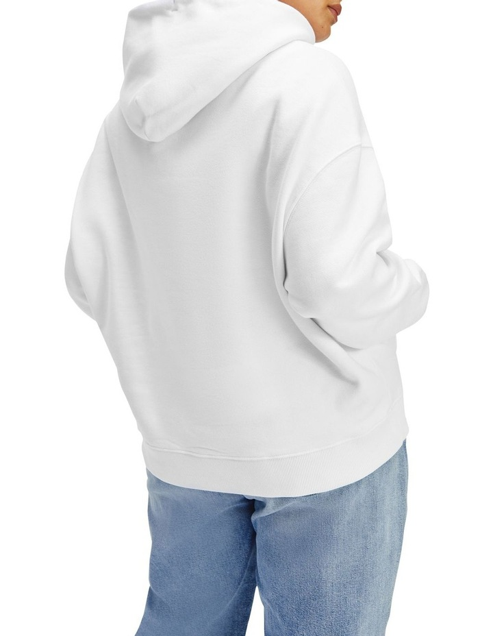 Curve Center Badge Hoodie White image 2