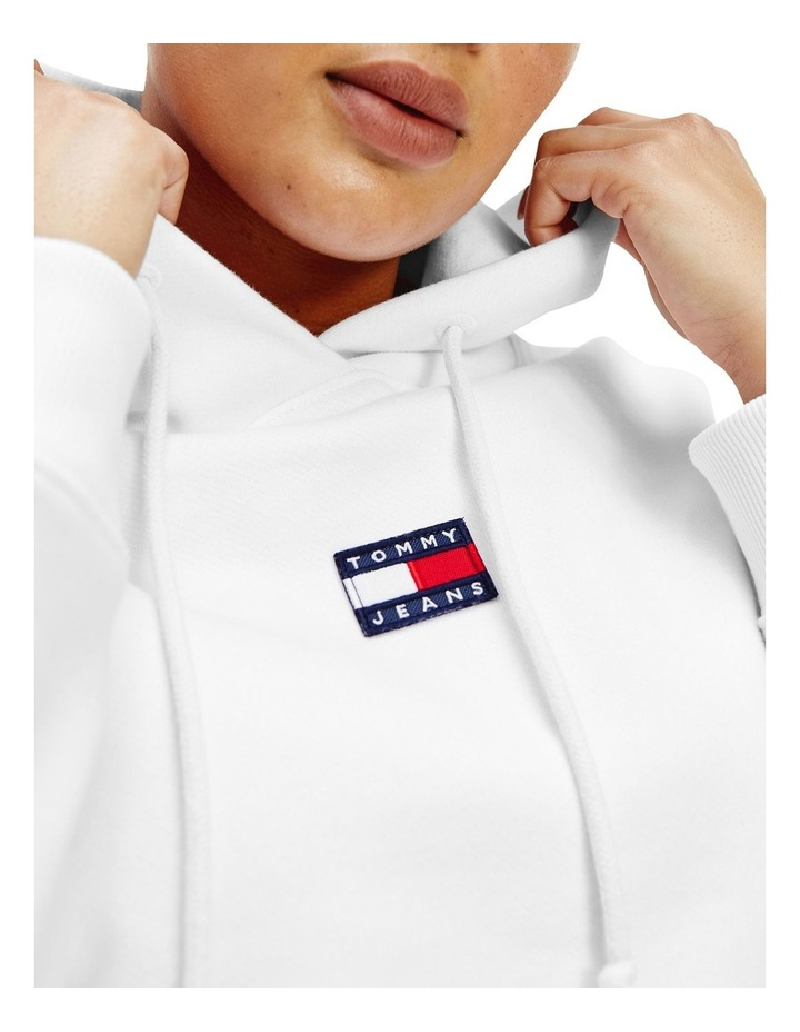 Curve Center Badge Hoodie White image 3