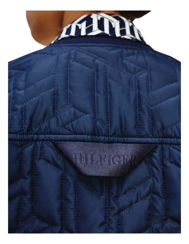 Poly Quilted Navy Bomber Jacket image 3