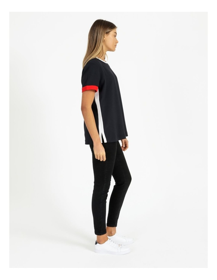 Fluid Twill Relaxed Crew Neck Top image 3