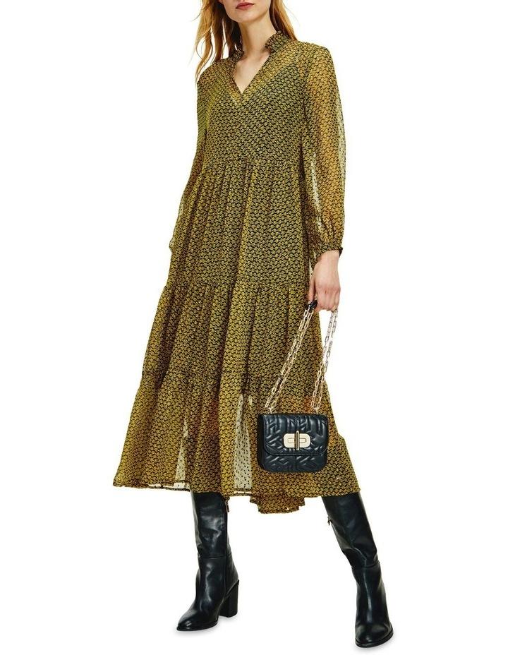 Chiffon Shift Long Sleeve Midi Dress image 1