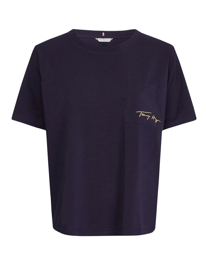 Relaxed Crewneck Gold Script Short Sleeve Tee image 4
