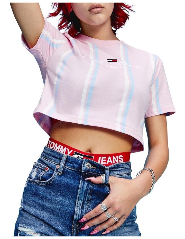 Pastel Stripe Cropped T-Shirt image 1
