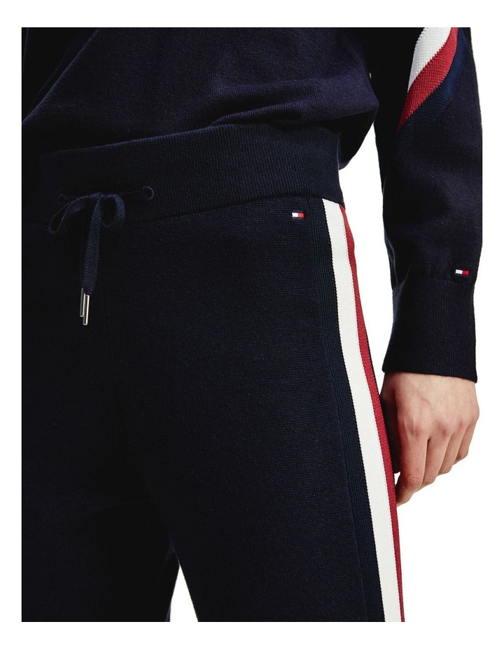 Global Stripe Navy Wool Blend Joggers image 3