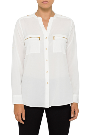 Calvin Klein White - Roll Sleeve Blouse