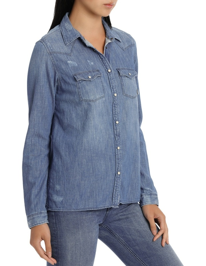 Denim traditional western shirt in various blue tones image 2