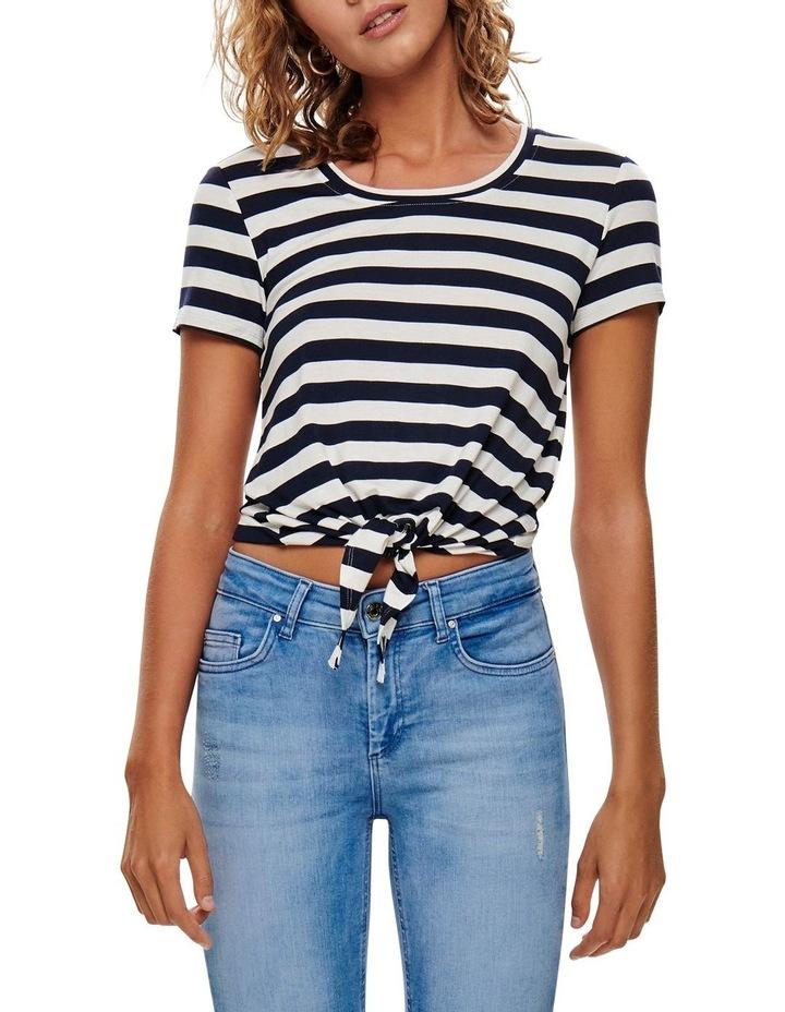 Arli Stripes Short Sleeved Knot Top Black/ White image 1