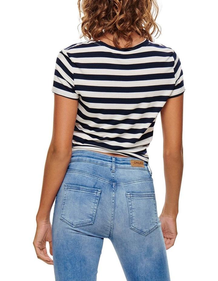 Arli Stripes Short Sleeved Knot Top Black/ White image 2