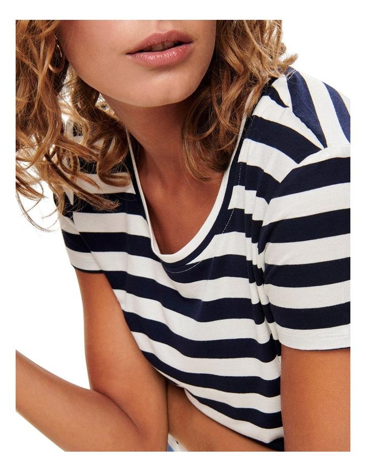 Arli Stripes Short Sleeved Knot Top Black/ White image 4