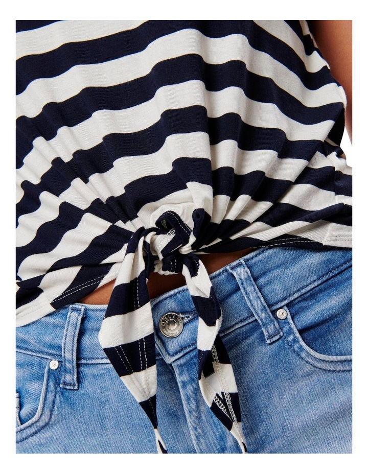 Arli Stripes Short Sleeved Knot Top Black/ White image 5
