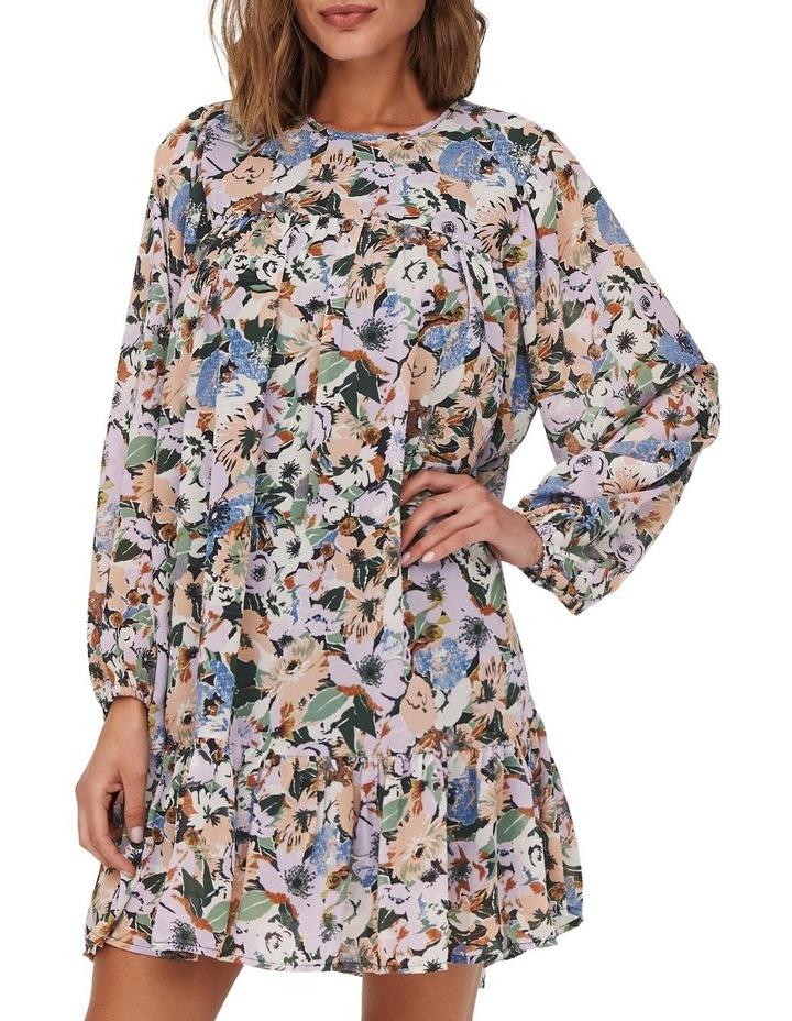 Star Long Sleeve Frill Short Dress Black Flower image 1