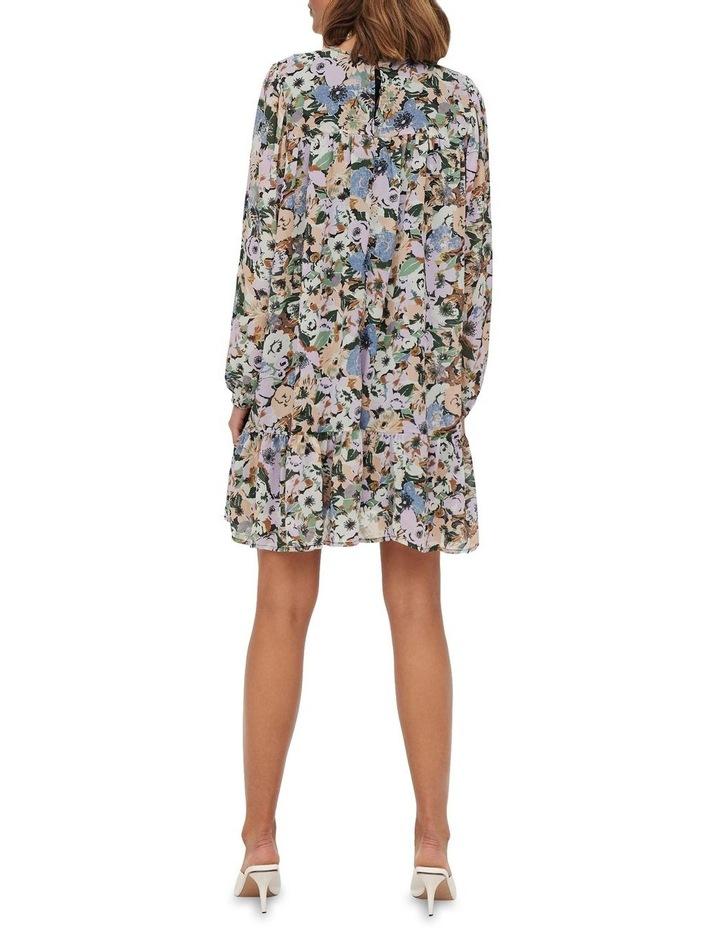 Star Long Sleeve Frill Short Dress Black Flower image 2