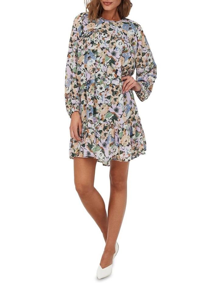 Star Long Sleeve Frill Short Dress Black Flower image 3