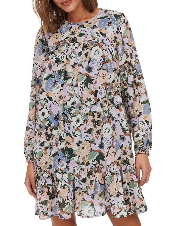 Star Long Sleeve Frill Short Dress Black Flower image 4