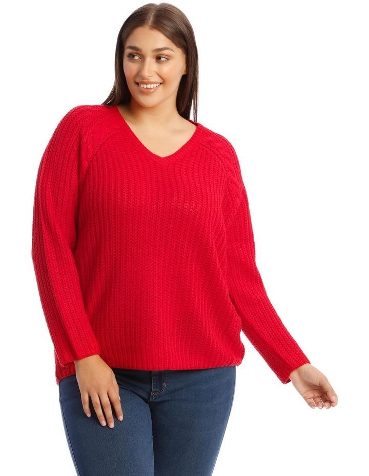 Hanne Pullover Knit V-Neck Jumper Red image 1