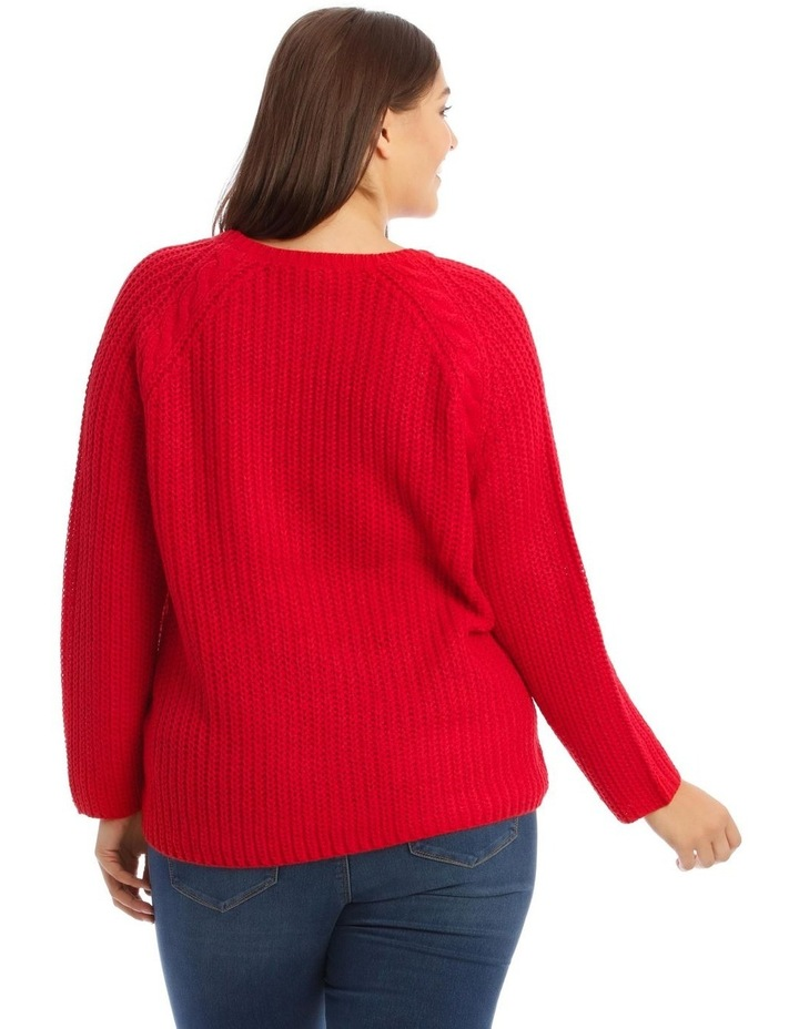 Hanne Pullover Knit V-Neck Jumper Red image 3