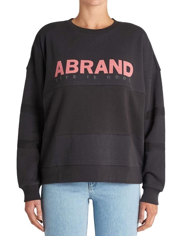 Washed BlackOversized Panelled Sweater image 1