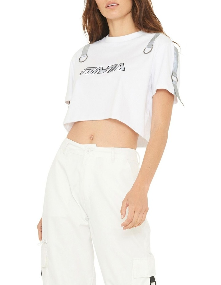 Gallery Crop T-Shirt With Reflective Print And Buckle Design image 2