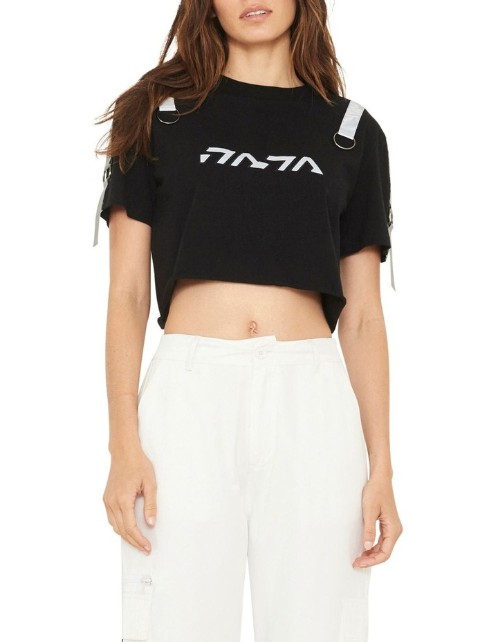 Gallery Crop T-Shirt With Reflective Print And Buckle Design image 1