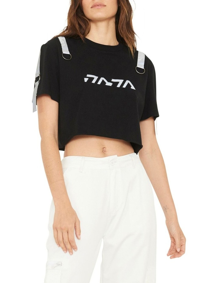 Gallery Crop T-Shirt With Reflective Print And Buckle Design image 3