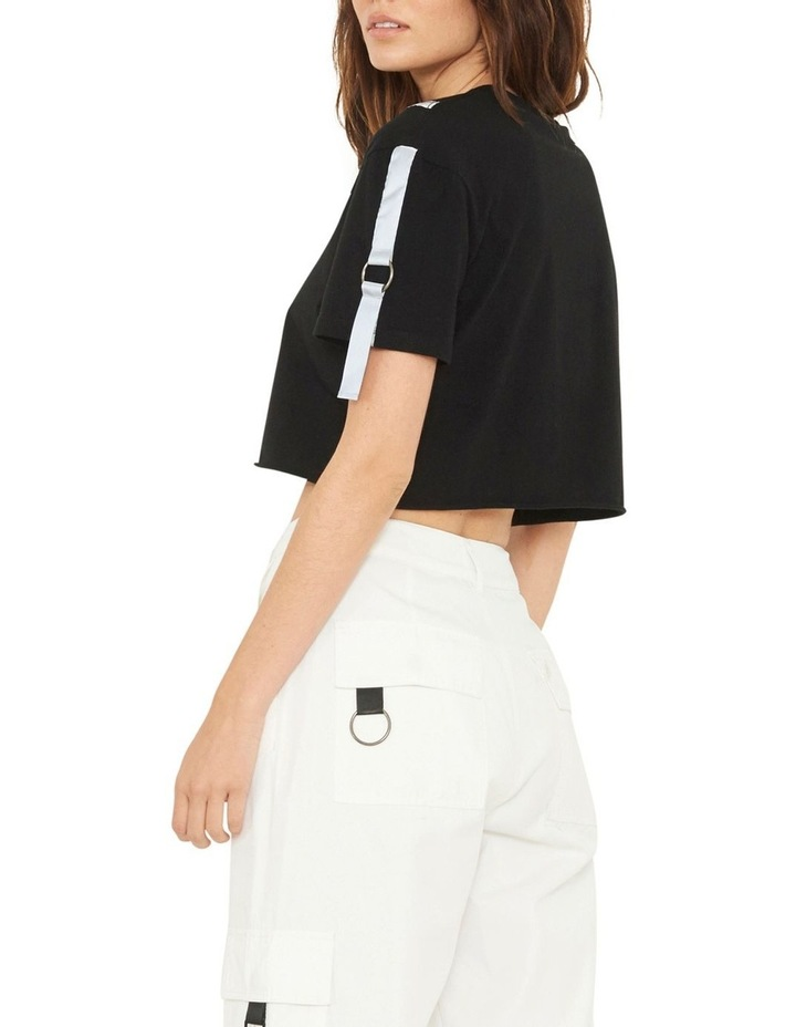 Gallery Crop T-Shirt With Reflective Print And Buckle Design image 4