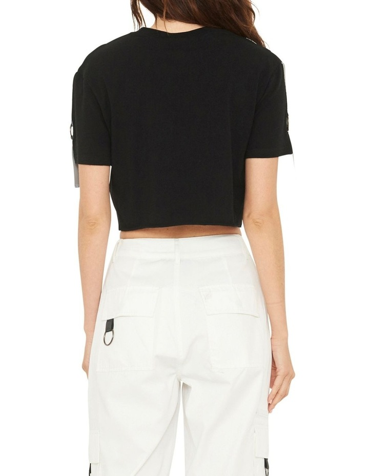 Gallery Crop T-Shirt With Reflective Print And Buckle Design image 5