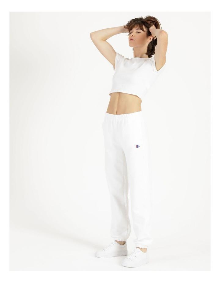 Reverse Weave White Jogger Pants image 1