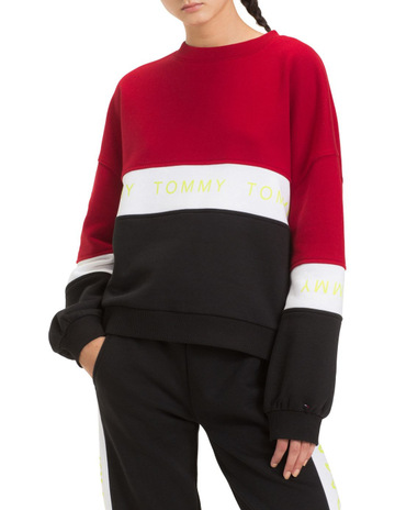 2b68b001a Tommy JeansLogo Tape Colour-Blocked Sweatshirt. Tommy Jeans Logo Tape Colour -Blocked Sweatshirt