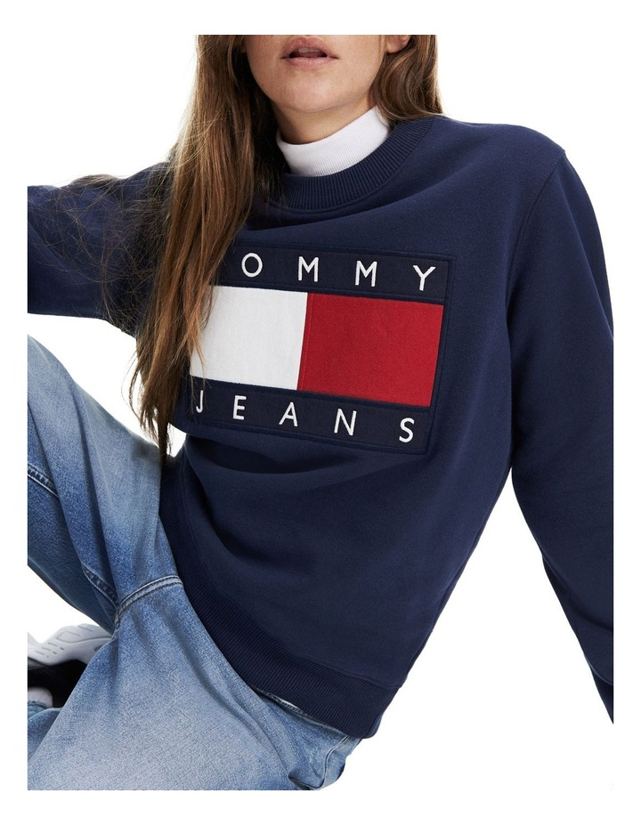 Tommy Flag Cropped Sweatshirt image 1