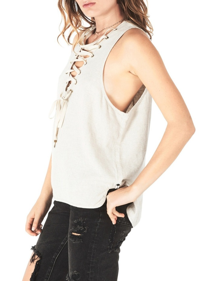 French Linen Lace Up Top image 3