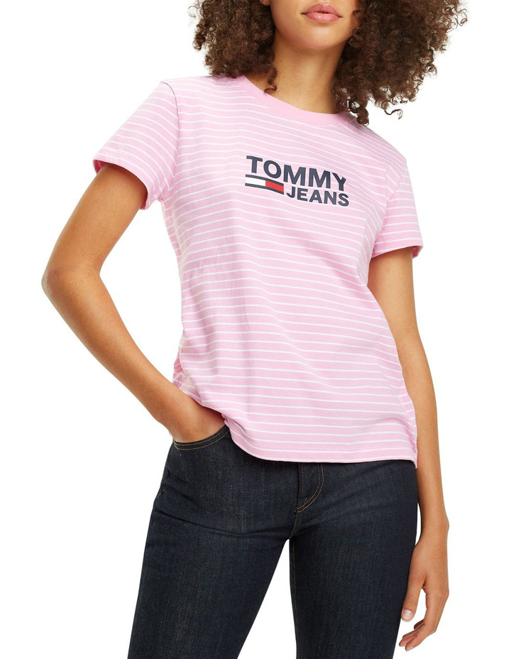 Tommy Jeans Women's Striped Chest Graphic Tee image 1