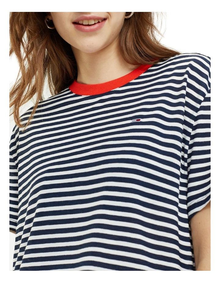 Contrast Crew Neck Stripe T-Shirt image 2